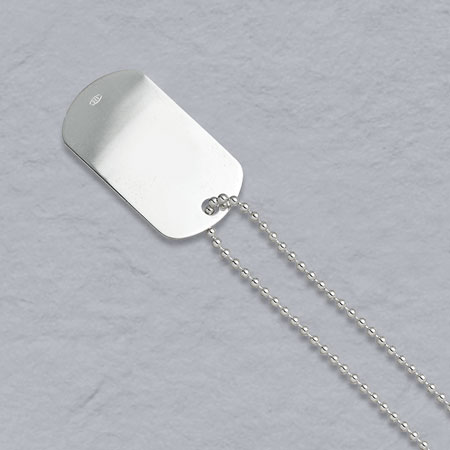 32-Inch Sterling Silver Bead 2.2mm, Dog Tag Chain