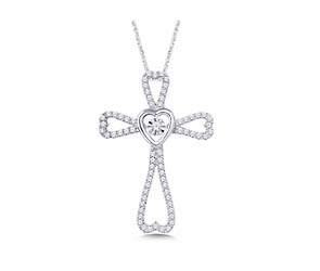Moving Diamond Cross Heart Pendant
