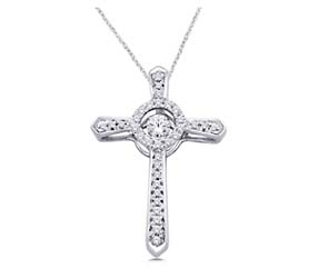 Moving Diamond Accented Cross Pendant