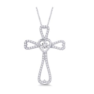 Moving Diamond Cross Heart Pendant 3/8 Carat Total Weight