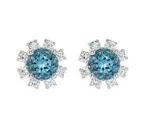 Aquamrine Diamond Stud Earrings