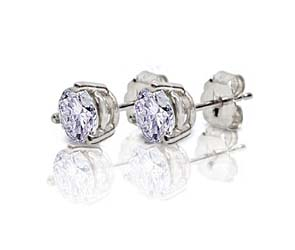 3 Prong Wired Basket  Diamond Stud Earrings