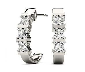 4 Stone Clusters Hoop Earrings