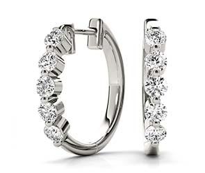 5 Stone Hoop Earrings