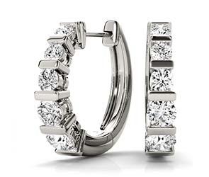 Channel Set Hoop Diamond Earrings