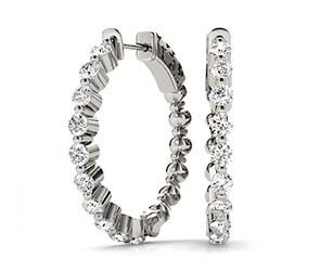 Shared Prong Diamond Hoop Earrings