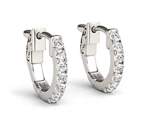 Diamond Huggie Hoop Earrings