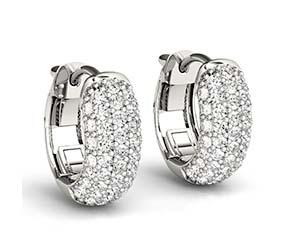 Diamond 5 Row Huggie Earrings