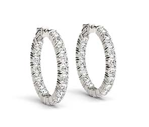Inside Outside Diamond Hoop Earrings(22mm)