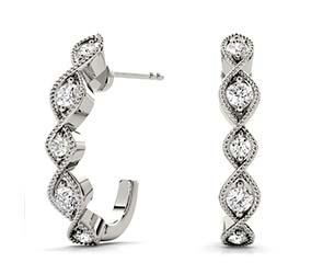 Diamond J Hoop Earings