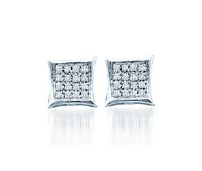 Micro Pave Diamond Earrings<br> .05 Carat Total Weight