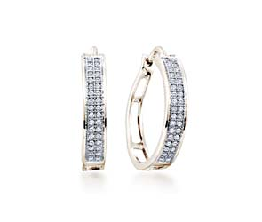 Micro Pave Diamond Earrings<br> 1/5 Carat Total Weight