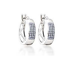 Micro Pave Hoop Diamond Earrings<br> .16 Carat Total Weight