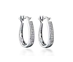 Micro Pave Hoop Diamond Earrings<br> .15 Carat Total Weight