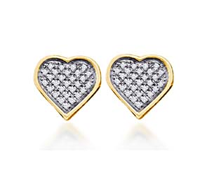 Diamond Heart Earrings<br> .15 Carat Total Weight