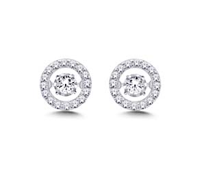 Moving Diamond Stud Earrings