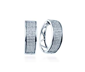 Micro Pave Diamond Earrings<br> 9/10 Carat Total Weight