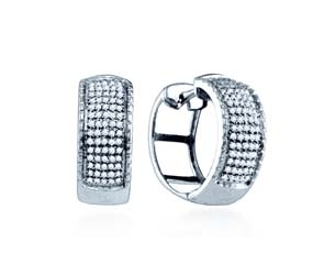 Micro Pave Diamond Earrings<br> .43 Carat Total Weight