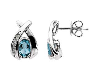 Oval Shape Aquamarine & Diamond Earrings