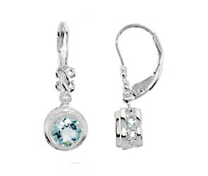 Bezel Set Aquamarine Drop Diamond Earrings