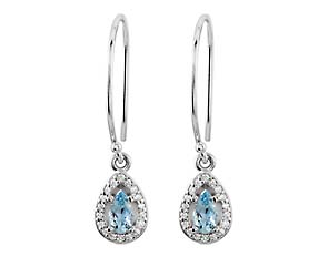 DIamond and Aquamarine Drop Earrings