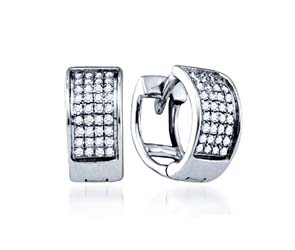Ladies Micro Pave Diamond Earrings<br> .15 Carat Total Weight