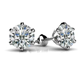 6 Prong Stud  Diamond Stud Earrings