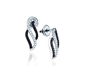 Ladies Micro Pave Diamond Earrings<br> 1/3 Carat Total Weight
