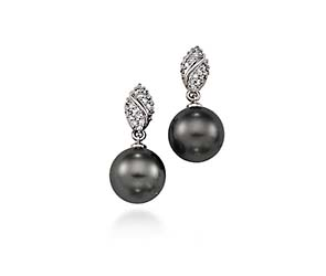 Genuine Tahitian Pearl & Diamond Drop Earrings