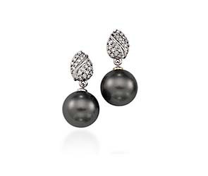 Genuine Tahitian Pearl & Diamond Honeycomb Drop  Earrings