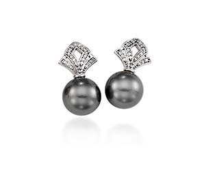 Genuine Tahitian Pearl & Diamond Bishop Drop  Earrings
