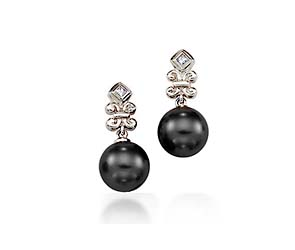 Genuine Tahitian Pearl & Diamond Designer Drop  Earrings
