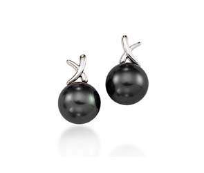 Genuine Tahitian Pearl & Diamond Swirl Drop  Earrings