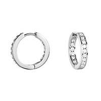 Diamond Channel Set Earrings 3/4 Carat Total Weight