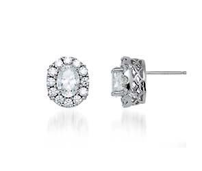 Halo-Style Oval Cut Diamond Earrings