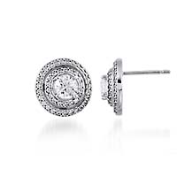 Entourage Diamond Stud Earrings 1.5 Carat Total Weight