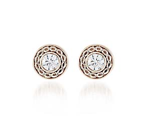 Roped Accent Bezel Diamond Earrings