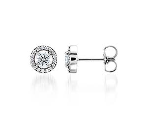 Halo-Style Diamond Stud Earrings