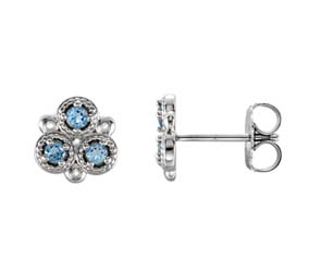 Three Stone Aquamarine Earrings