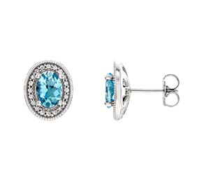 Aquamarine Oval Shape DIamond Earrings