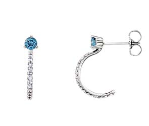 Aquamarine J-Hoop Diamond Earrings