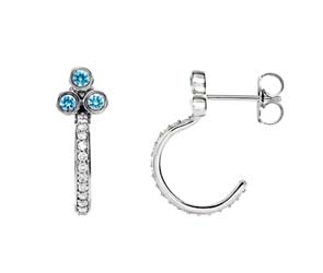 Three Stone Aquamarine J-Hoop Damond Earrings