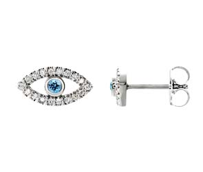 Aquamarine Eye Style Diamond Earrings