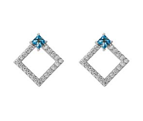 Princess Cut Aquamarine Diamond Earrings