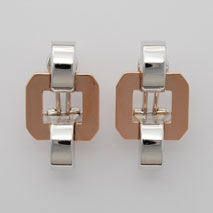 14K White Gold / Rose Gold Square Stampato Earrings