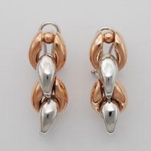 14K White Gold / Rose Gold Rosebud Stampato Earrings