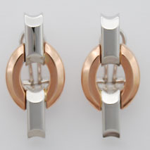 14K White Gold / Rose Gold Bevelled Round Stampato Earrings