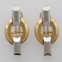 14K Yellow Gold / White Gold Bevelled Round Stampato Earrings