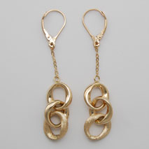 14K Yellow Gold Link w/ Multi - Ring Earrings