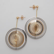 14K Yellow / White Rotating Illusion Earrings